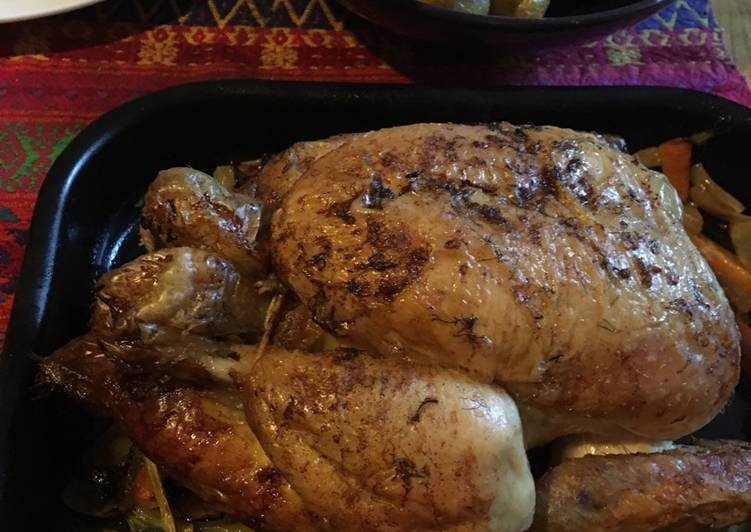 cava roast chicken with fennel and lemon recipe main photo