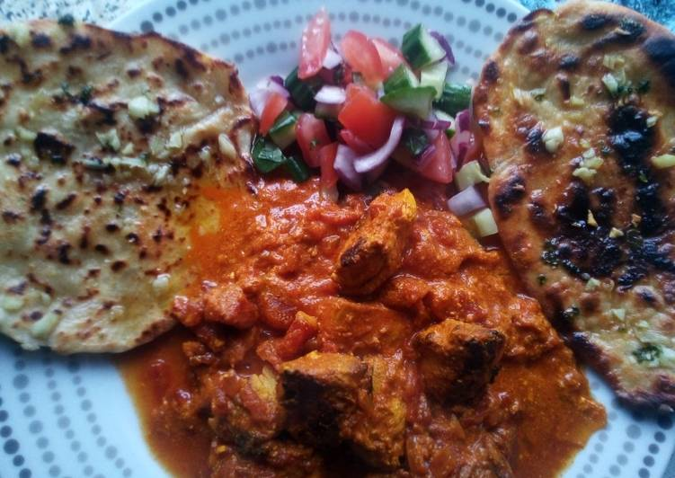chicken tikka masala with garlic flatbreads and kachumber recipe main photo 1