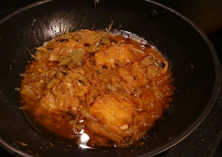 cod fried in olive oil and onions recipe main photo