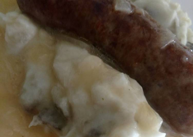crock pot bangers mash w onion gravy recipe main photo