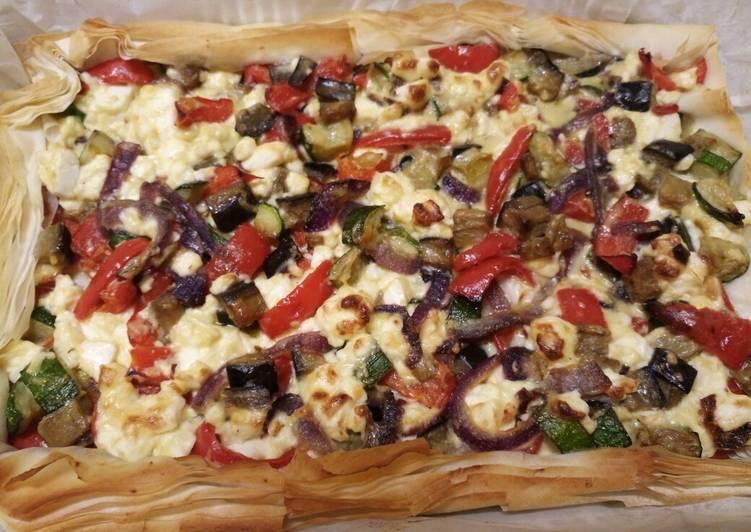 feta and veg filo pie recipe main photo