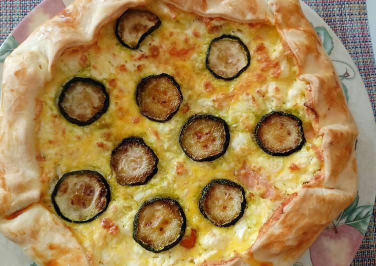 feta smoked salmon and courgette pie recipe main photo