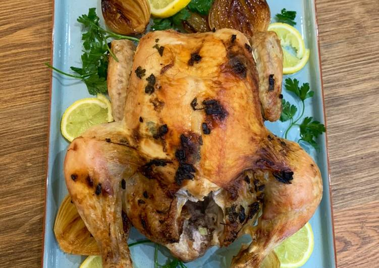 garlic butter roast chicken with caramelised onions recipe main photo 1