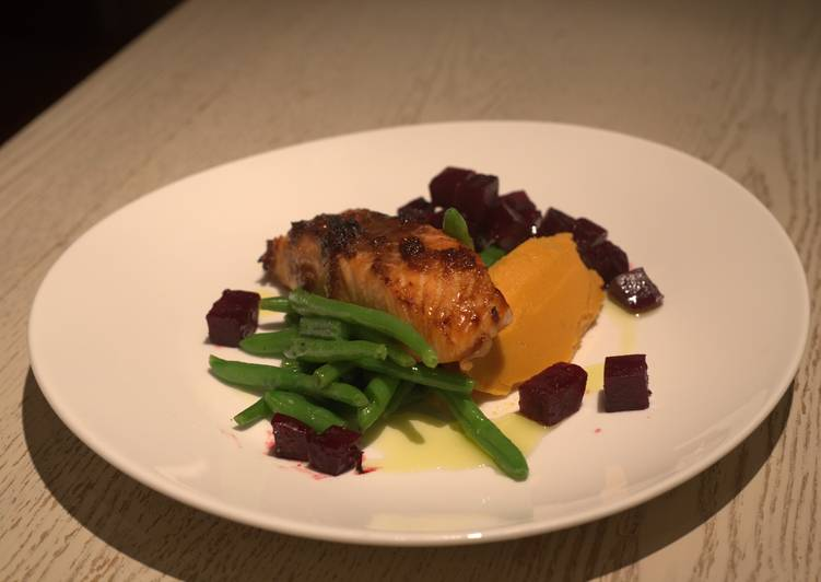 ginger grilled salmon with orange glazed beetroots recipe main photo 1