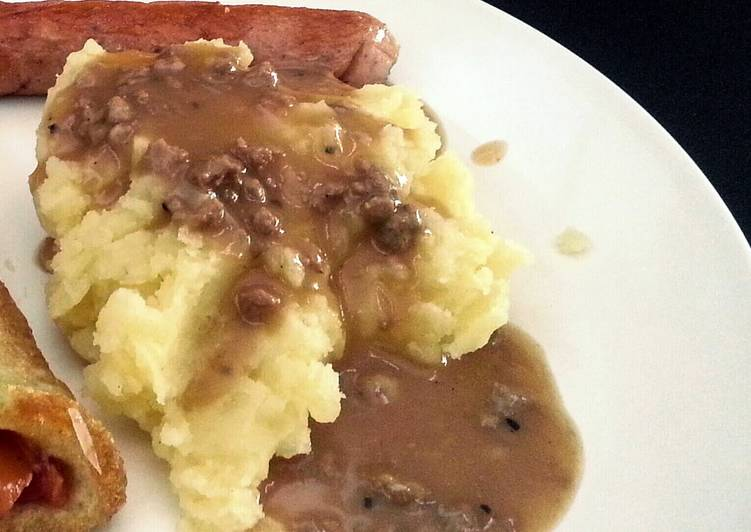 mashed potato with gravy sauce in english bahasa recipe main photo