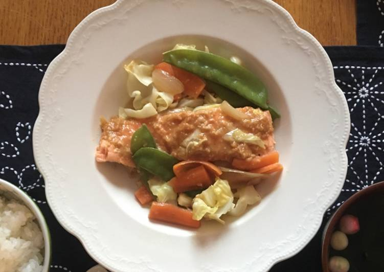 miso salmon and vegetable steam fry recipe main photo