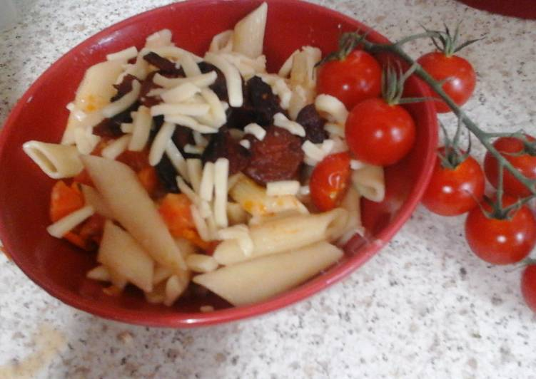 my chorizo pasta with mozzarella grated on top 😀 recipe main photo