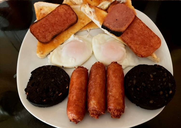 my filling breakfast grill black pudding sausage eggs recipe main photo