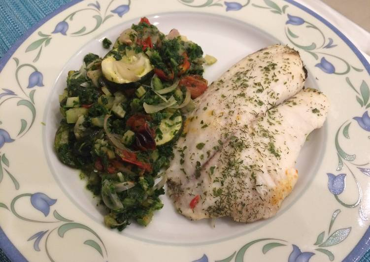 palomas baked tilapia with celery courgette spinach in white recipe main photo