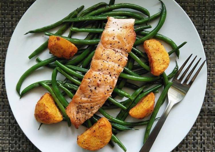 pan seared salmon with french beans roasted potatoes recipe main photo 1