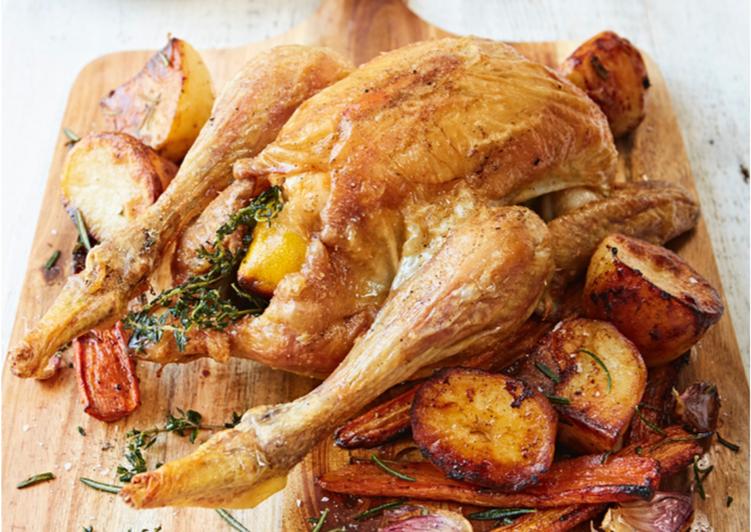 roast chicken with potatoes carrots recipe main photo
