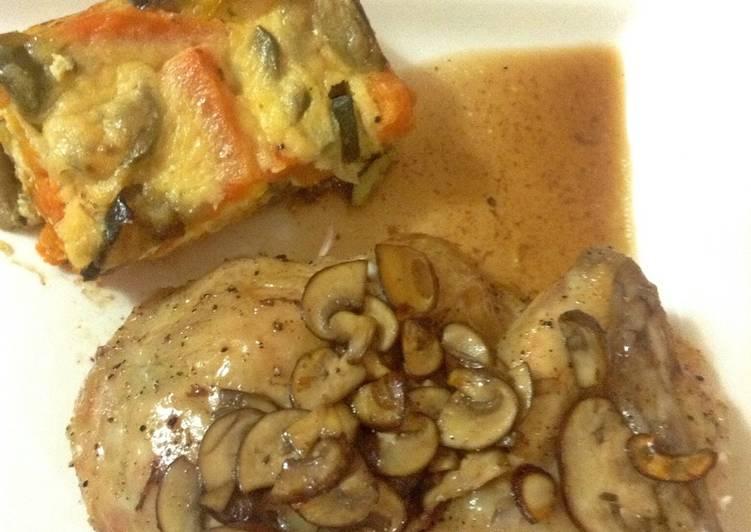 roast chicken with wild mushroom and madeira roasting juice recipe main photo 1