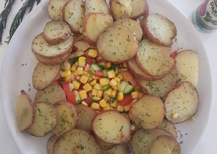 roast potatoes with corn salad recipe main photo