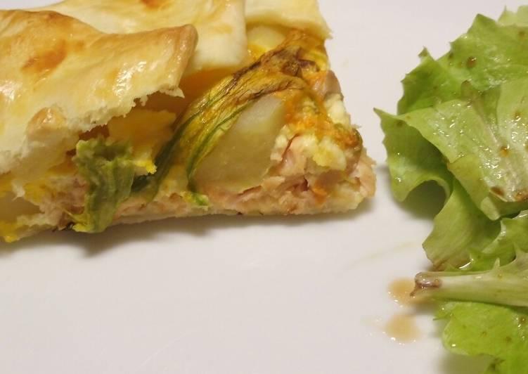 salmon fillet potato and pumpkin flower pie recipe main photo