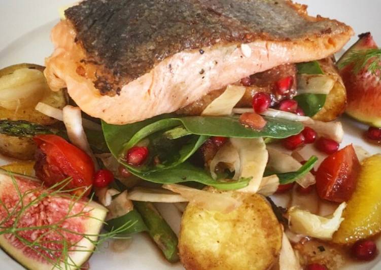seared salmon on figs roasted potatoes fennel spinach and pomegranate dressing recipe main photo