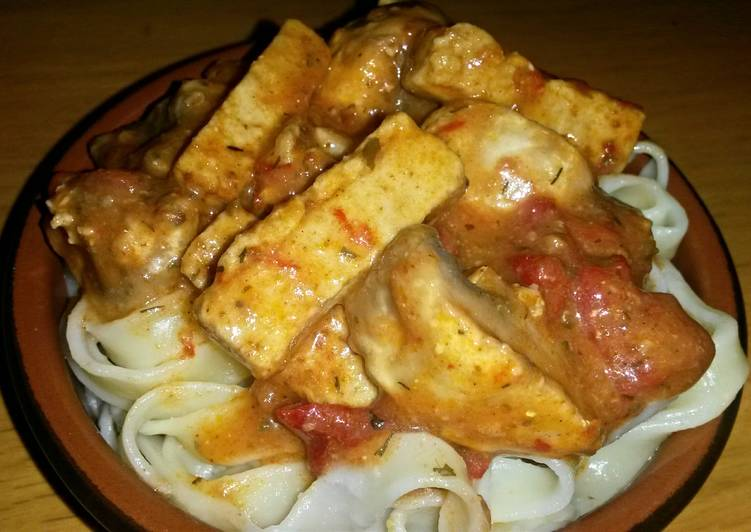 sigs tofu and mushroom pasta recipe main photo