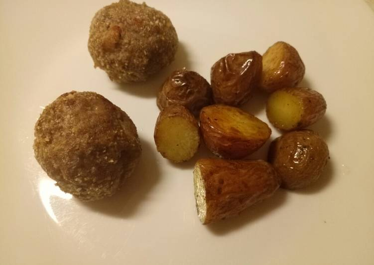 speck and parmesan meatballs with butter roasted potatoes recipe main photo