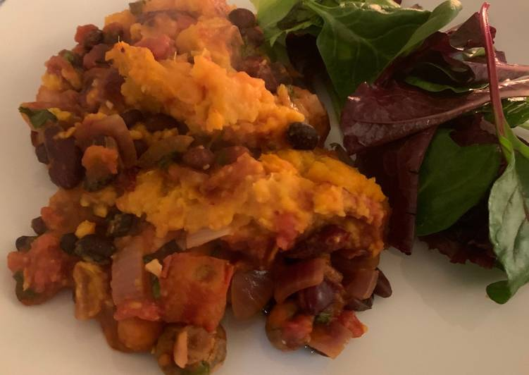 sweet potato and black bean shepherds pie recipe main photo