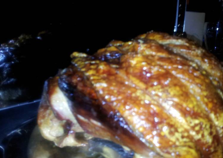 traditional english roasted leg of with perfect crackling recipe main photo