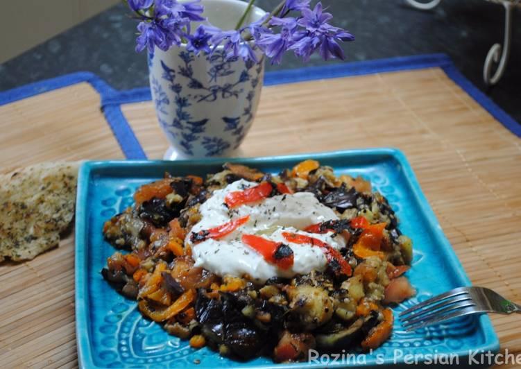 turkish grilled eggplant salad with yogurt mint sauce recipe main photo 1